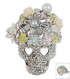 Betsey Johnson® Silvertone Mixed Pave & Flower Skull Ring