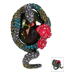 Betsey Johnson® Hematite Tone Pave Snake Wrap Faceted Stone Ring
