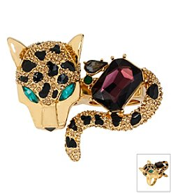 Betsey Johnson® Goldtone Pave Leopard Two-Finger Ring