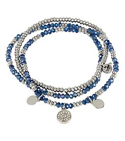 Kenneth Cole® Silvertone Mixed Blue Faceted Bead Stretch Bracelet Set