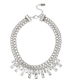 Kenneth Cole® Silvertone Crystal Baguette Stone Frontal Necklace