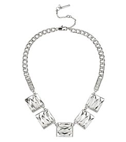 Kenneth Cole® Silvertone Crystal Baguette Stone Geometric Frontal Necklace