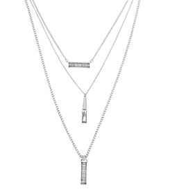 Kenneth Cole® Silvertone Crystal Baguette Stone Triple Pendant Layered Necklace Set