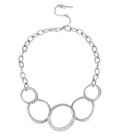 Kenneth Cole® Silvertone Pave Circle Link Frontal Necklace