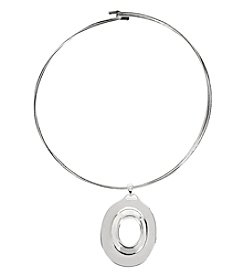 Robert Lee Morris Soho™ Silvertone Oval Pendant Wire Collar Necklace
