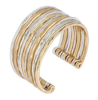 Robert Lee Morris Soho™ Hammered Texture Two-Tone Multi Row Cuff Bracelet