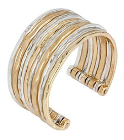 Robert Lee Morris Soho™ Hammered Texture Two-Tone Multi Row Cuff Bracelet