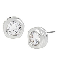 Robert Lee Morris Soho™ Silvertone Cubic Zirconia Faceted Stone Stud Earrings