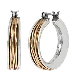 Robert Lee Morris Soho™ Two-Tone Wire Wrapped Small Hoop Earrings