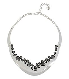 Robert Lee Morris Soho™ Silvertone Black Diamond Faceted Stone Collar Necklace