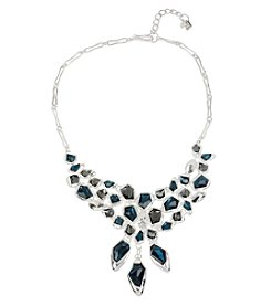 Robert Lee Morris Soho™ Silvertone Mixed Faceted Stone Frontal Necklace