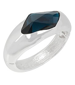 Robert Lee Morris Soho™ Silvertone Faceted Stone Hinged Bangle Bracelet