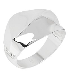 Robert Lee Morris Soho™ Silvertone Geometric Wide Hinged Bangle Bracelet