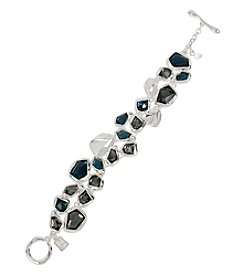 Robert Lee Morris Soho™ Silvertone Mixed Faceted Stone Toggle Bracelet