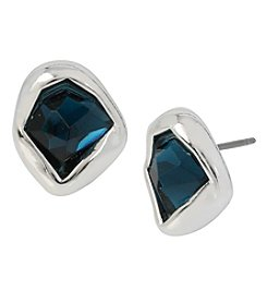 Robert Lee Morris Soho™ Silvertone Faceted Stone Stud Earrings