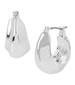 Robert Lee Morris Soho™ Silvertone Sculptural Oval Wide Hoop Earrings