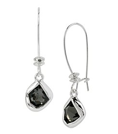 Robert Lee Morris Soho™ Silvertone Faceted Stone Long Drop Earrings