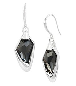 Robert Lee Morris Soho™ Silvertone Black Diamond Faceted Stone Drop Earrings