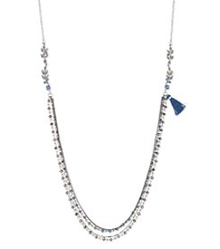 Lonna & Lilly Silvertone and Hematite with Blue Bead 34