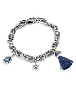 Lonna & Lilly Silvertone and Blue Charm Stretch Bracelet with Small Jet Stones