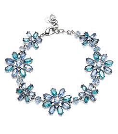 Lonna & Lilly Light Hematite Tone And Blue Flower Flexible Bracelet