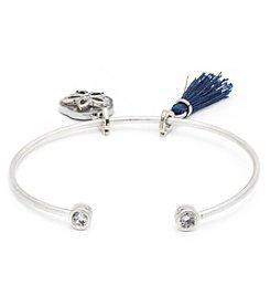 Lonna & Lilly Oxidized Silvertone and Blue Charm Cuff Bracelet