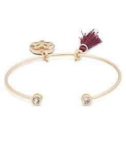 Lonna & Lilly Goldtone Bracelet with Flower Charm and Burgundy Tassel