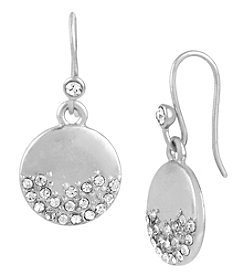 Kenneth Cole® Silvertone Pave Disc Drop Earrings