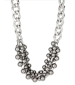 Kenneth Cole® Silvertone Grey Glass Pearl Torsade Necklace