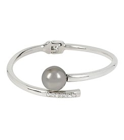 Kenneth Cole® Silvertone Grey Glass Pearl Wire Wrap Hinged Bangle Bracelet