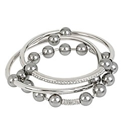 Kenneth Cole® Silvertone Grey Glass Pearl Stretch Bracelet Set