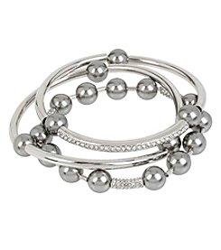 Kenneth Cole® Silvertone Grey Glass Pearl Stretch Bracelet Set