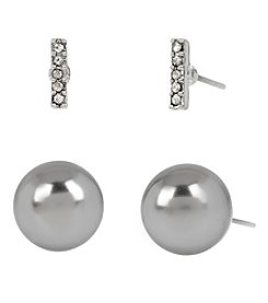Kenneth Cole® Silvertone Pave Stick & Grey Glass Pearl Duo Stud Earrings Set