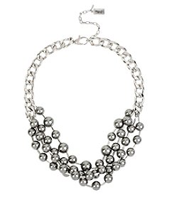 Kenneth Cole® Silvertone Grey Glass Pearl Multi Row Necklace