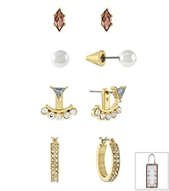 BCBGeneration™ Goldtone Peach & Crystal Earrings Set