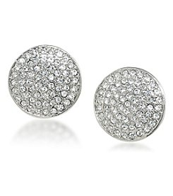 Carolee® Silvertone Oyster Bar Pave Disc Clip-On Earrings