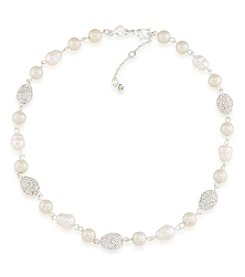 Carolee® Silvertone Oyster Bar Petite Pearl Collar Necklace