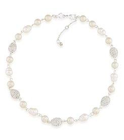 Carolee® Silvertone Oyster Bar Petite Pearl Collar Necklace