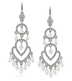 Carolee® Silvertone Oyster Bar Dramatic Chandelier Pierced Earrings