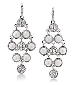 Carolee® Silvertone Oyster Bar Kite Chandelier Pierced Earrings