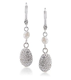 Carolee® Silvertone Oyster Bar Double Drop Pierced Earrings
