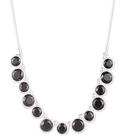Nine West® Silvertone and Jet Stone Frontal Necklace