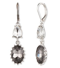 Nine West® Silvertone Grey Stone Double Drop Earrings