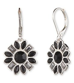 Nine West® Silvertone and Jet Crystal Flower Shaped Cluster Drop Earrings