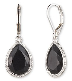 Nine West® Silvertone and Jet Teardrop Earrings