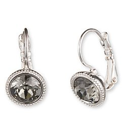 Nine West® Silvertone and Dark Grey Leverback Drop Earrings