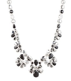 Nine West® Silvertone, Jet and Cubic Zirconia Frontal Statement Necklace