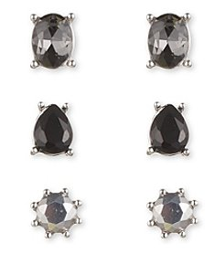 Nine West® Trio of Stud Earrings Set in Silvertone with Shades of Grey/Jet Stones