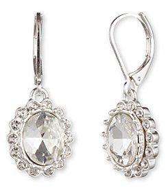 Nine West® Silvertone and Round Clear Stone Drop Earrings