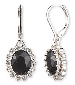 Nine West® Silvertone and Round Jet Stone Drop Earrings